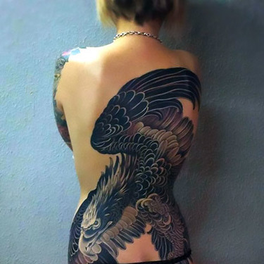 Feminine Full Back Golden Eagle Tattoo