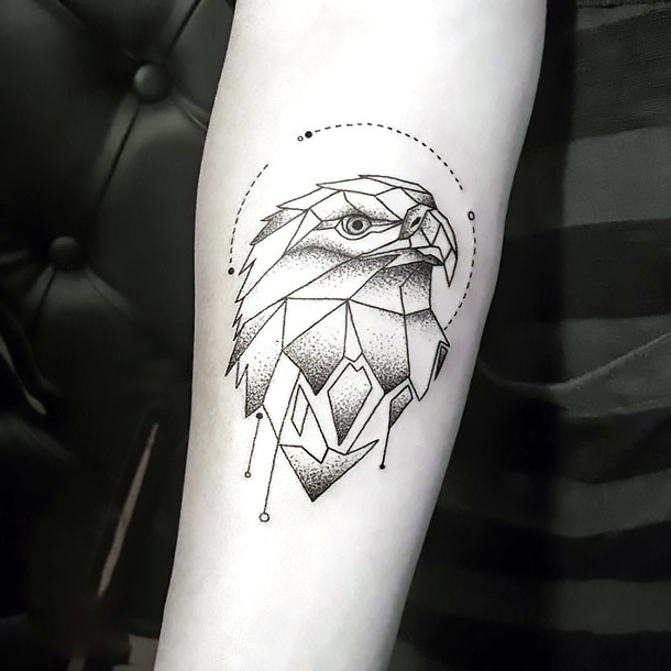 Geometric Line Eagle Tattoo Idea