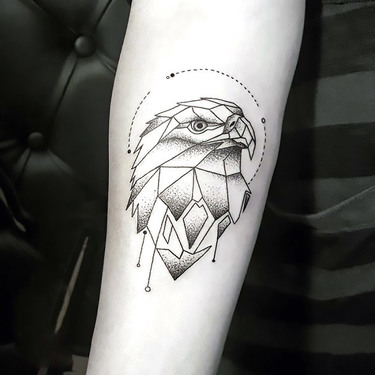 Geometric Line Eagle Tattoo