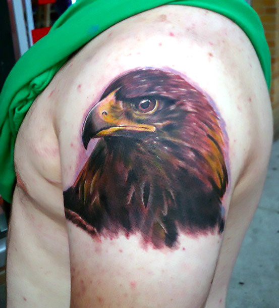 Golden Eagle Head Tattoo Idea