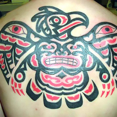 Native American Eagle on Back Tattoo