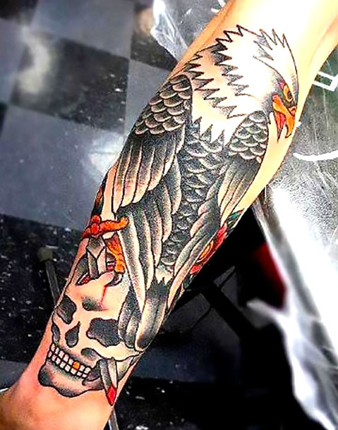 Old School Eagle on Arm Tattoo Idea