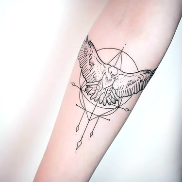 Small Fine Line Eagle Tattoo