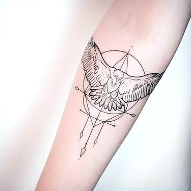 Small Fine Line Eagle Tattoo