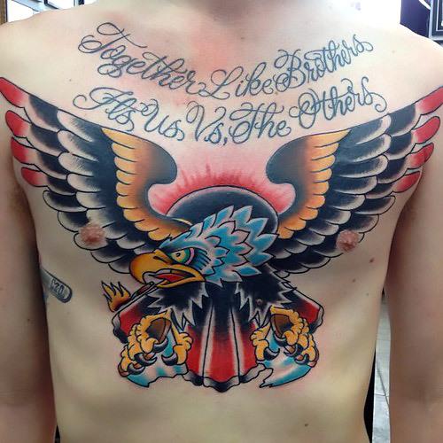 Traditional Eagle Together Like Brothers Tattoo Idea