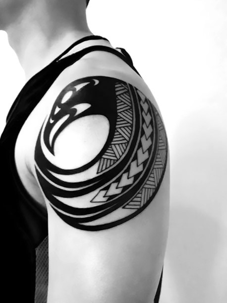 Native American Eagle Circle Tattoo Idea