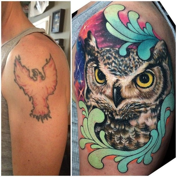 Cool Owl Cover Up  Tattoo Idea
