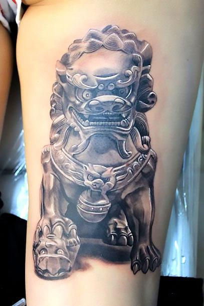 3D Chinese Lion Tattoo Idea
