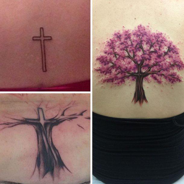 Cover Up Sakura Tree Tattoo Idea