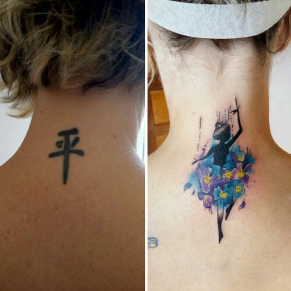 Wonderful Dancing Girl Cover Up  Tattoo Idea
