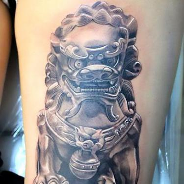 3D Chinese Lion Tattoo