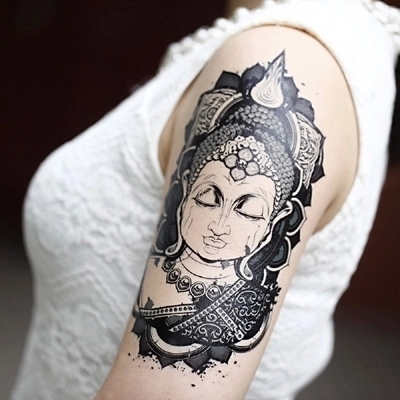 Black Buddha Head  Tattoo Idea