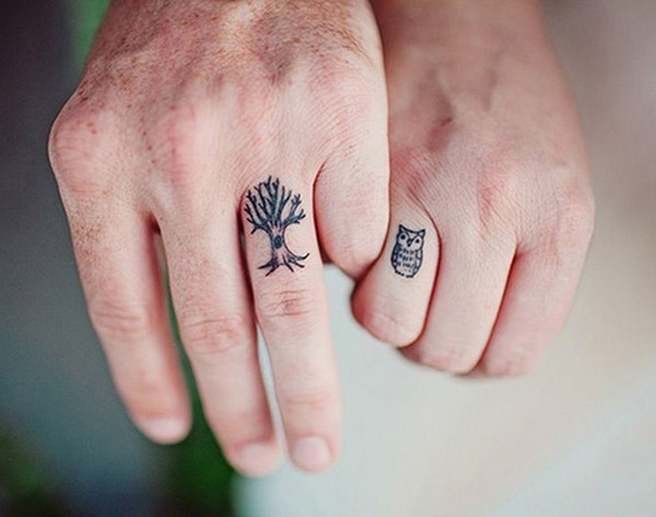 Owl and Tree Wedding  Tattoo Idea
