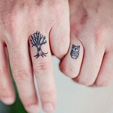 Owl and Tree Wedding  Tattoo
