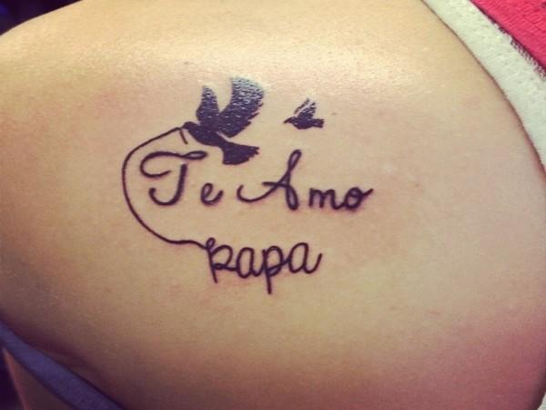 I Love You Dad with Dove Tattoo Idea