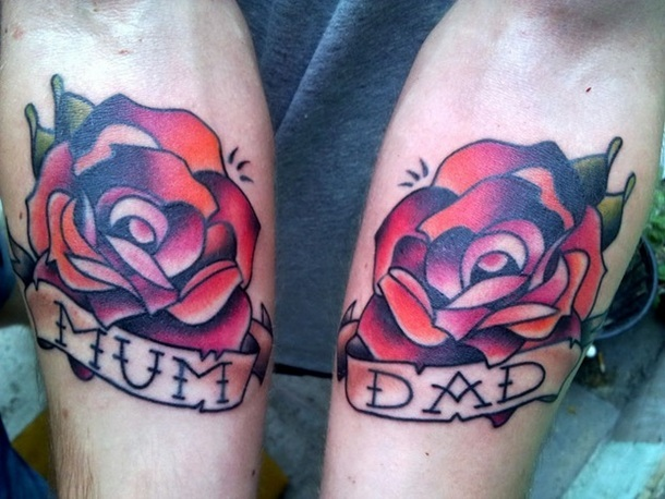 Mother and Father Roses Tattoo Idea