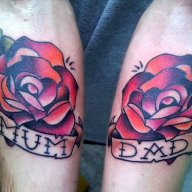 Mother and Father Roses Tattoo