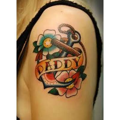 Daddy with Flowers and Anchor Tattoo Idea