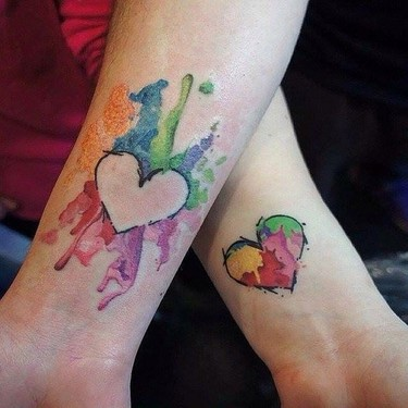 Matching Colorful Hearts Tattoo