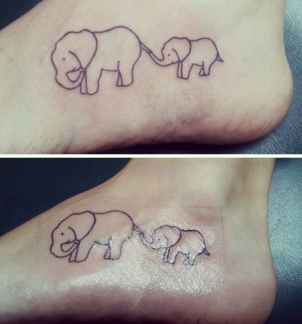 Mother and Baby Elephant Tattoo Idea