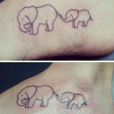 Mother and Baby Elephant Tattoo