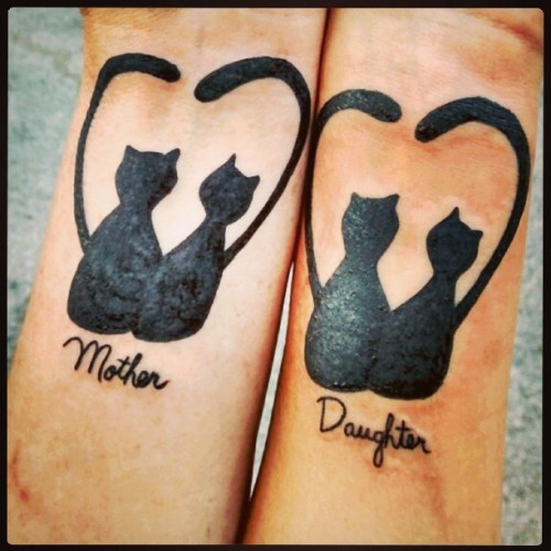 Mother Daughter Cats Tattoo Idea