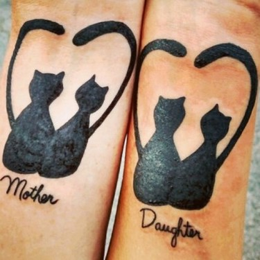 Mother Daughter Cats Tattoo