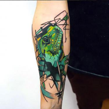 Abstract Lizard Tattoo