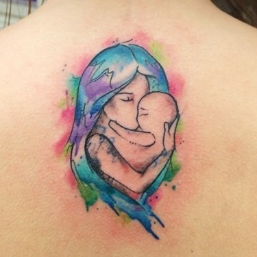 Mother Daughter Watercolor Tattoo