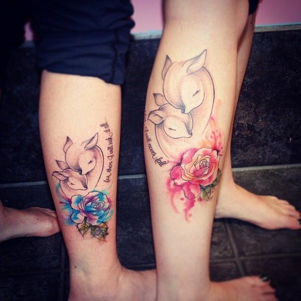 Mother Daughter Deers Tattoo Idea