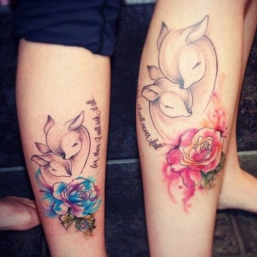 Mother Daughter Deers Tattoo
