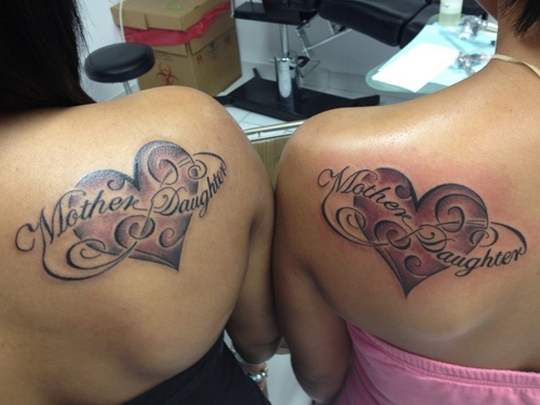 Mother Daughter Hearts Tattoo Idea