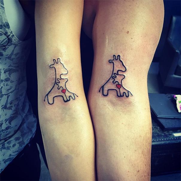 Mother Daughter Giraffes Tattoo Idea