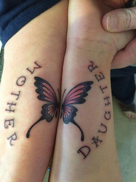 Mother Daughter Butterfly Tattoo Idea
