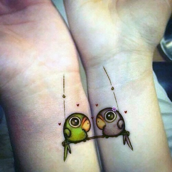 Two Parrots Tattoo Idea