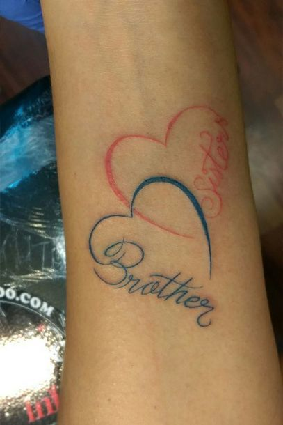 Brother Sister Heart Tattoo Idea