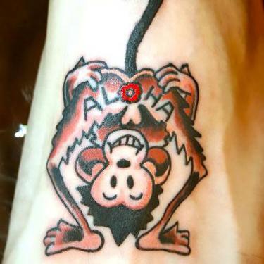 Aloha Monkey Butt Tattoo