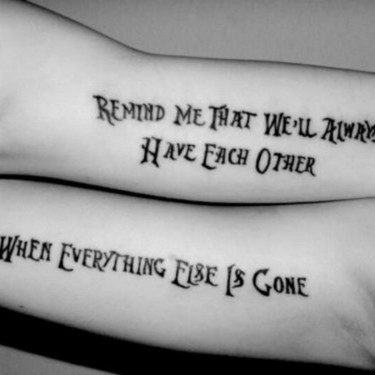 Brother and Sister Matching Lettering Tattoo
