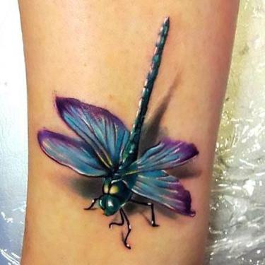 Amazing 3D Dragonfly on Arm Tattoo