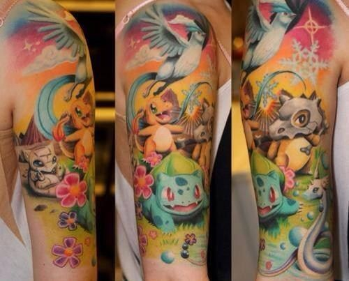 Pokemon Colorful Sleeve Tattoo Idea