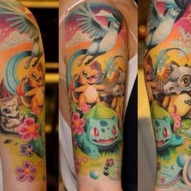 Pokemon Colorful Sleeve Tattoo