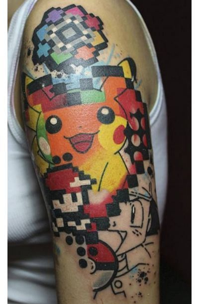Abstract Pikachu and Ash Tattoo Idea