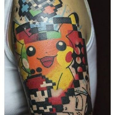 Abstract Pikachu and Ash Tattoo