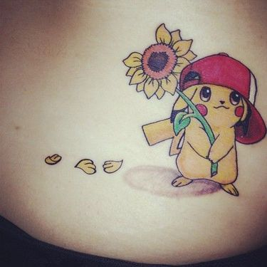 Pikachu with Sunflower Tattoo