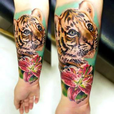 Amazing Baby Tiger Tattoo