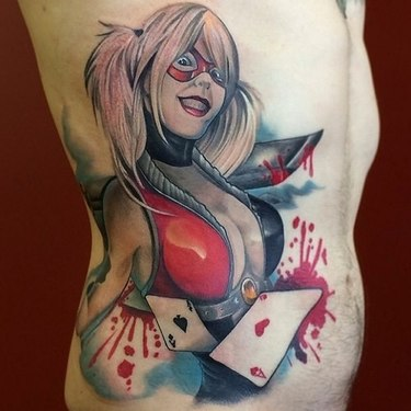 Harley in Blood with Cards Tattoo