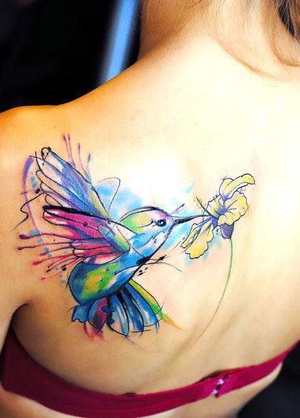 Hummingbird Tattoo on Shoulder Blade Tattoo Idea