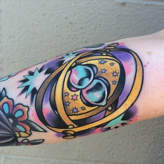 Colorful Time-Turner Tattoo Idea