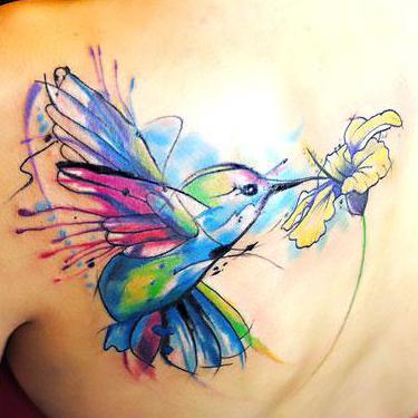 Hummingbird Tattoo on Shoulder Blade Tattoo