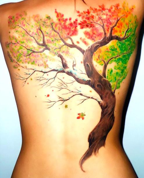 Fall Tattoo on Back Tattoo Idea